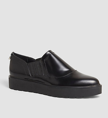 CALVIN KLEIN Leather Slip-On Shoes - Vikki 00000E1947BLK