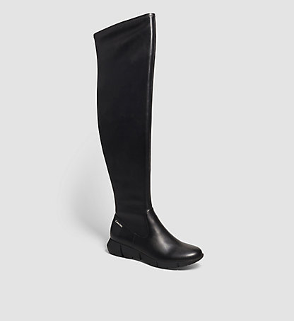 CALVIN KLEIN Leather Over-The-Knee Boots - Willana 00000E1989BLK