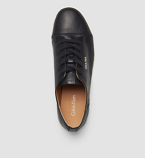 Leather Sneakers - BLACK/BLACK - CALVIN KLEIN SHOES & ACCESSORIES - detail image 1