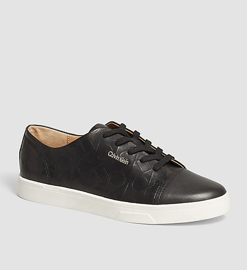 Leather Sneakers - BLACK/BLACK - CALVIN KLEIN SHOES & ACCESSORIES - main image