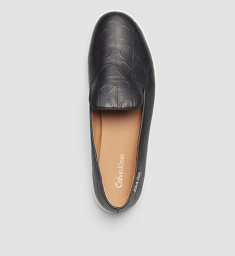 CALVINKLEIN Leather Slip-On Shoes - BLACK/BLACK - CALVIN KLEIN SHOES & ACCESSORIES - detail image 1