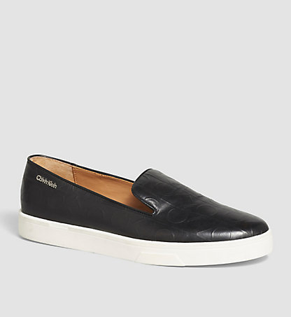 CALVIN KLEIN Leather Slip-On Shoes 00000E2813BLK