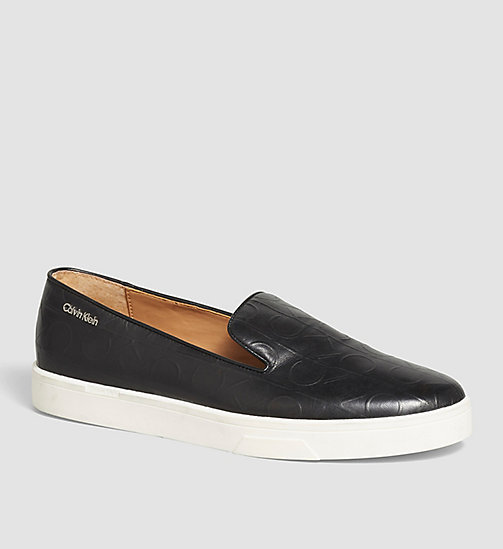 Leather Slip-On Shoes - BLACK/BLACK - CALVIN KLEIN SHOES & ACCESSORIES - main image