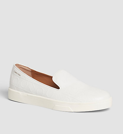 CALVIN KLEIN Leather Slip-On Shoes 00000E2813WHT