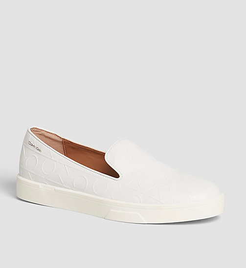 Leather Slip-On Shoes - BLACK/WHITE - CALVIN KLEIN  - main image