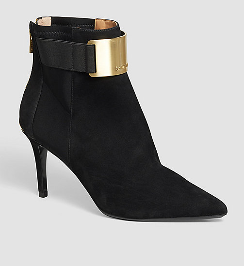 CALVINKLEIN Suede Zip Ankle Boots - BLACK - CALVIN KLEIN ANKLE BOOTS - main image