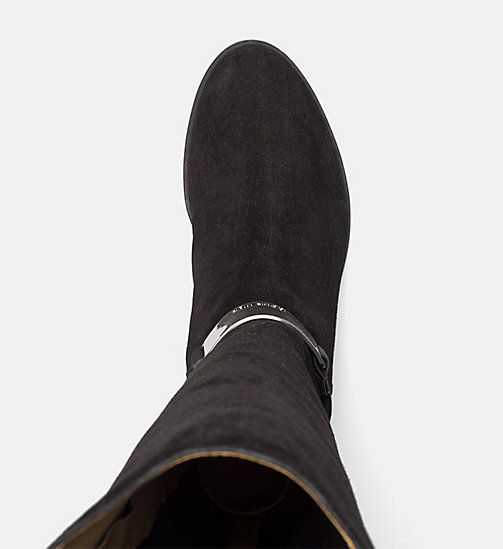 CALVINKLEIN Suede Neoprene Over-The-Knee Boots - BLACK/GUNMETAL - CALVIN KLEIN BOOTS - detail image 1