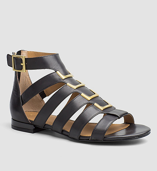 CALVINKLEIN Leather Sandals - BLACK/BLACK - CALVIN KLEIN SHOES & ACCESSORIES - main image
