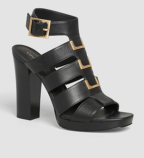 Leather Sandals - BLACK /  BLACK - CALVIN KLEIN SHOES & ACCESSORIES - main image