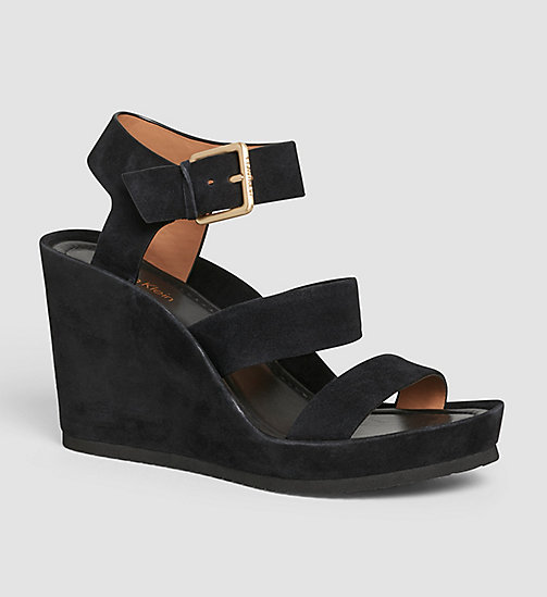 CALVINKLEIN Suede Sandals - BLACK/BLACK - CALVIN KLEIN SHOES - main image
