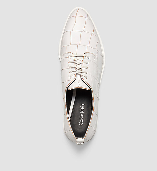 CALVINKLEIN Leather Lace-Up Shoes - SILVER/PLATINUM WHITE - CALVIN KLEIN FLAT SHOES - detail image 1
