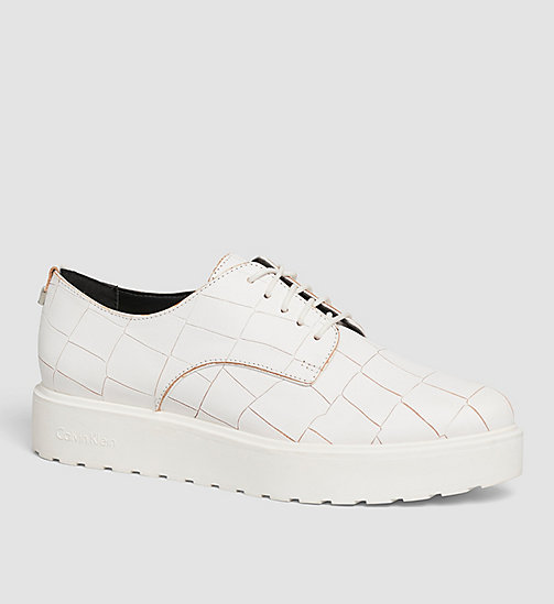 CALVINKLEIN Leather Lace-Up Shoes - SILVER/PLATINUM WHITE - CALVIN KLEIN FLAT SHOES - main image