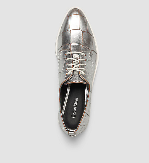 CALVINKLEIN Leather Lace-Up Shoes - SILVER/SILVER - CALVIN KLEIN FLAT SHOES - detail image 1