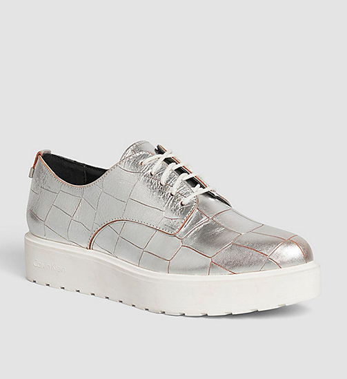 CALVINKLEIN Leather Lace-Up Shoes - SILVER/SILVER - CALVIN KLEIN FLAT SHOES - main image