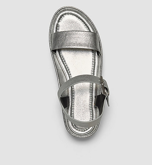 CALVINKLEIN Leather Metallic Sandals - SILVER/SILVER - CALVIN KLEIN SANDALS - detail image 1