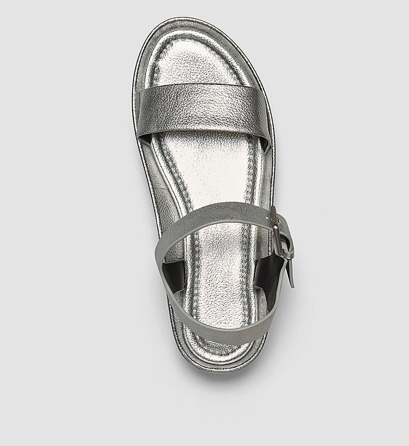 CALVINKLEIN Leather Metallic Sandals - SILVER/SILVER - CALVIN KLEIN SHOES & ACCESSORIES - detail image 1