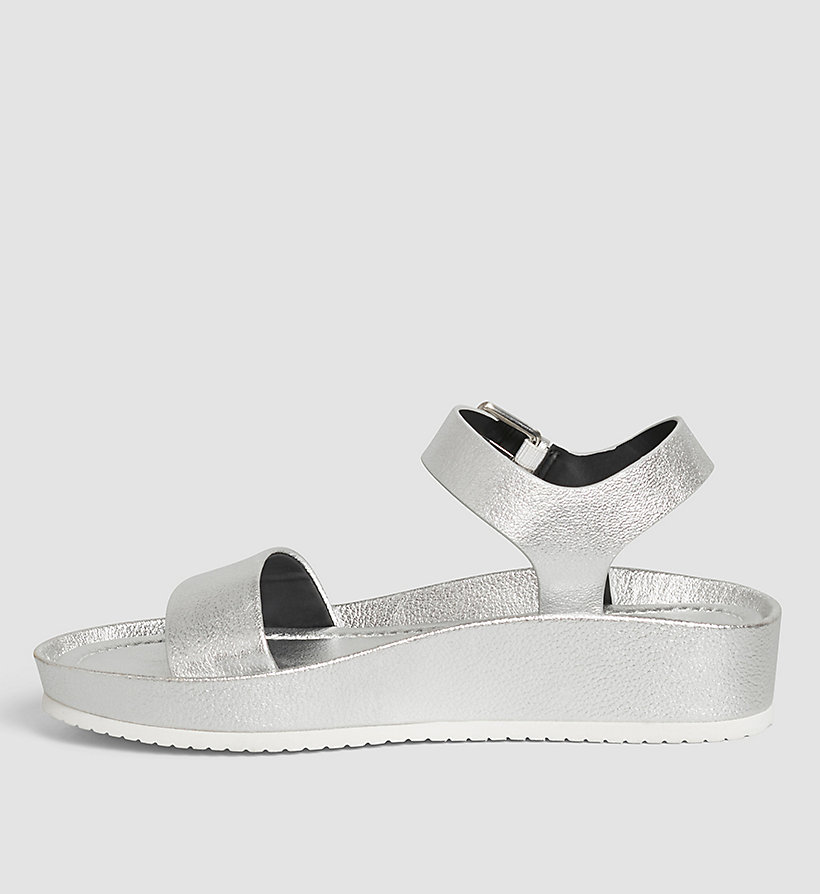 CALVINKLEIN Leather Metallic Sandals - SILVER/SILVER - CALVIN KLEIN SHOES & ACCESSORIES - detail image 2
