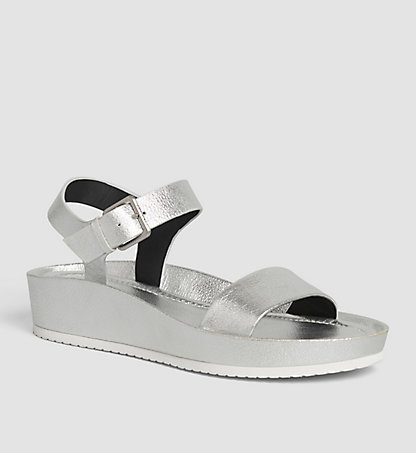 CALVIN KLEIN Leather Metallic Sandals 00000E4813SLV
