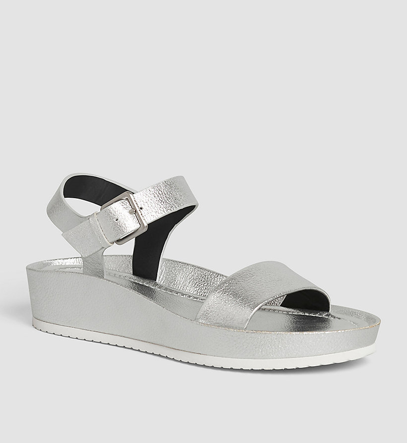 CALVINKLEIN Leather Metallic Sandals - SILVER/SILVER - CALVIN KLEIN SHOES & ACCESSORIES - main image