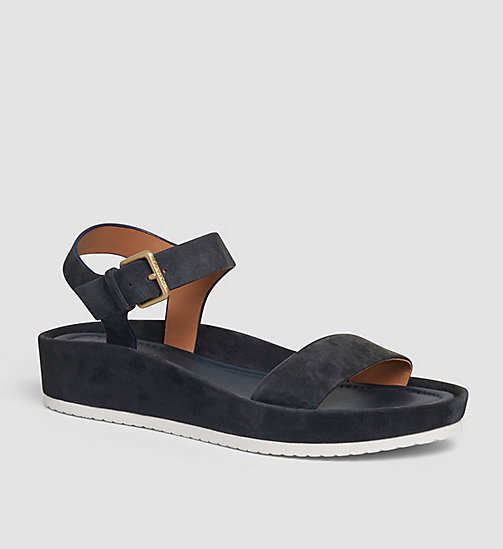 CALVINKLEIN Suede Sandals - BEIGE/DEEP NAVY - CALVIN KLEIN SHOES - main image