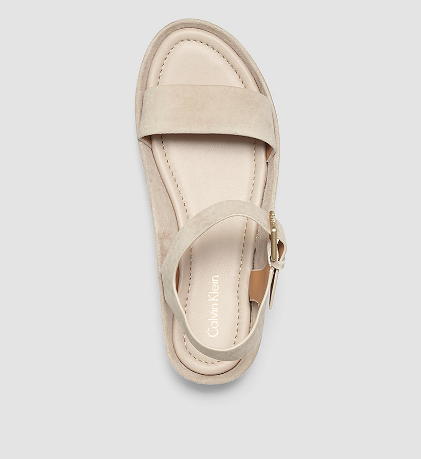CALVINKLEIN Suede Sandals - BEIGE/DEEP NAVY - CALVIN KLEIN SHOES & ACCESSORIES - detail image 1