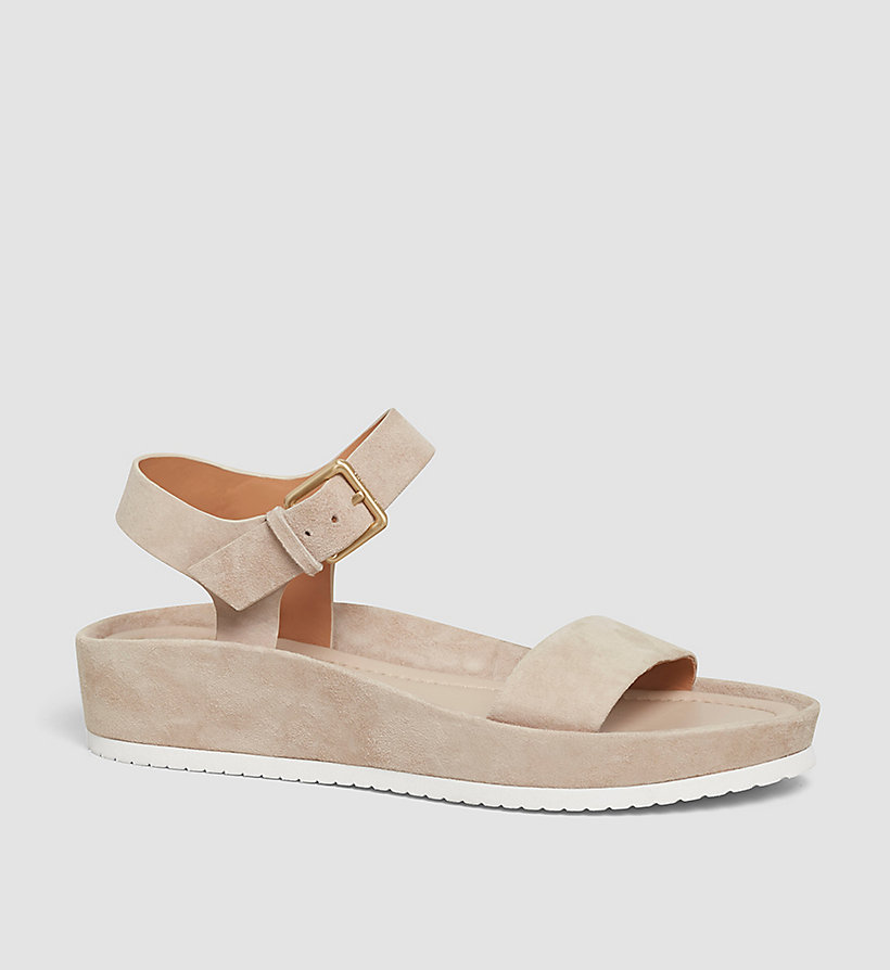 CALVINKLEIN Suede Sandals - BEIGE/DEEP NAVY - CALVIN KLEIN SHOES & ACCESSORIES - main image