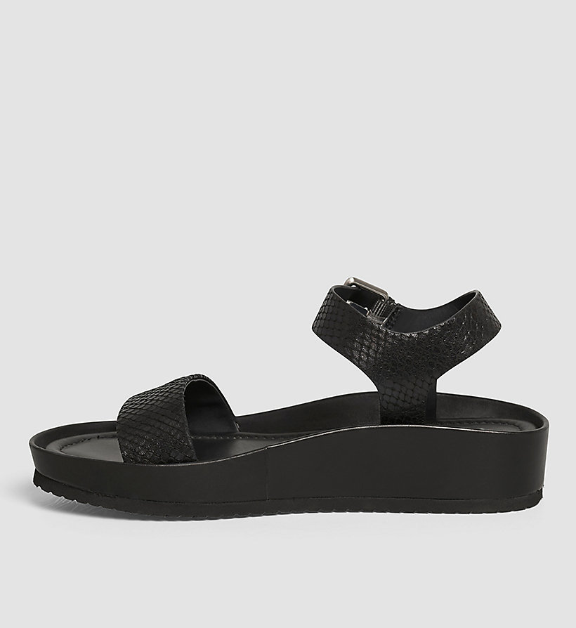 CALVINKLEIN Leather Sandals - BLACK/BLACK - CALVIN KLEIN SHOES & ACCESSORIES - detail image 2