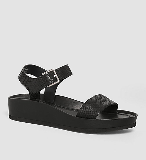 CALVINKLEIN Leather Sandals - BLACK /  BLACK - CALVIN KLEIN SANDALS - main image
