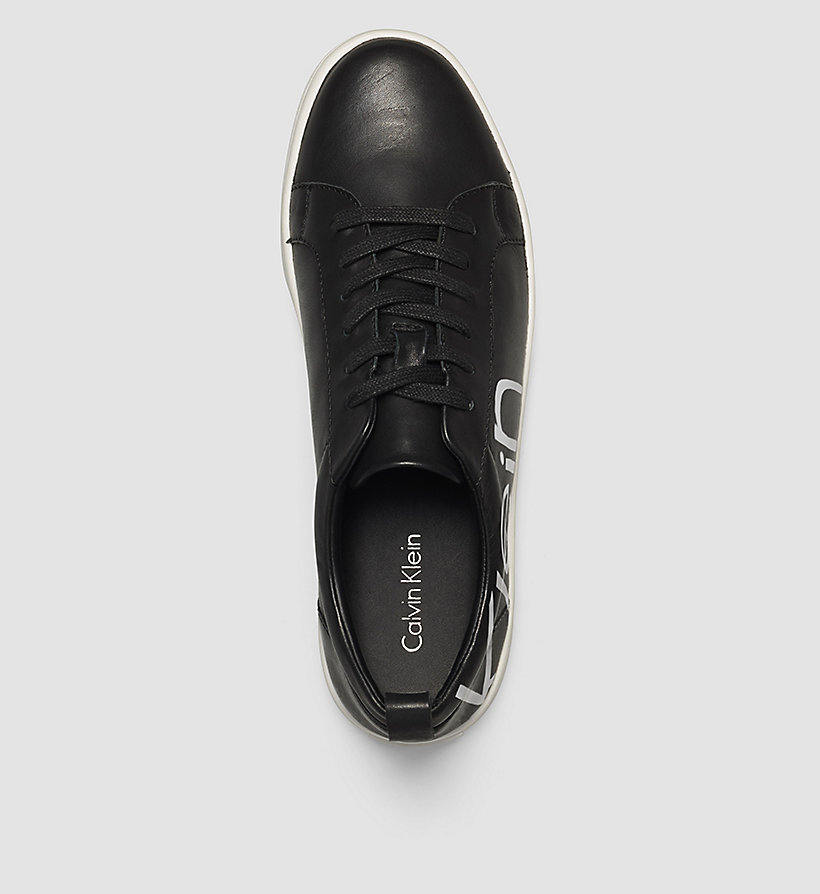 CALVINKLEIN Leather Sneakers - WHITE/BLACK/WHITE - CALVIN KLEIN SHOES & ACCESSORIES - detail image 1