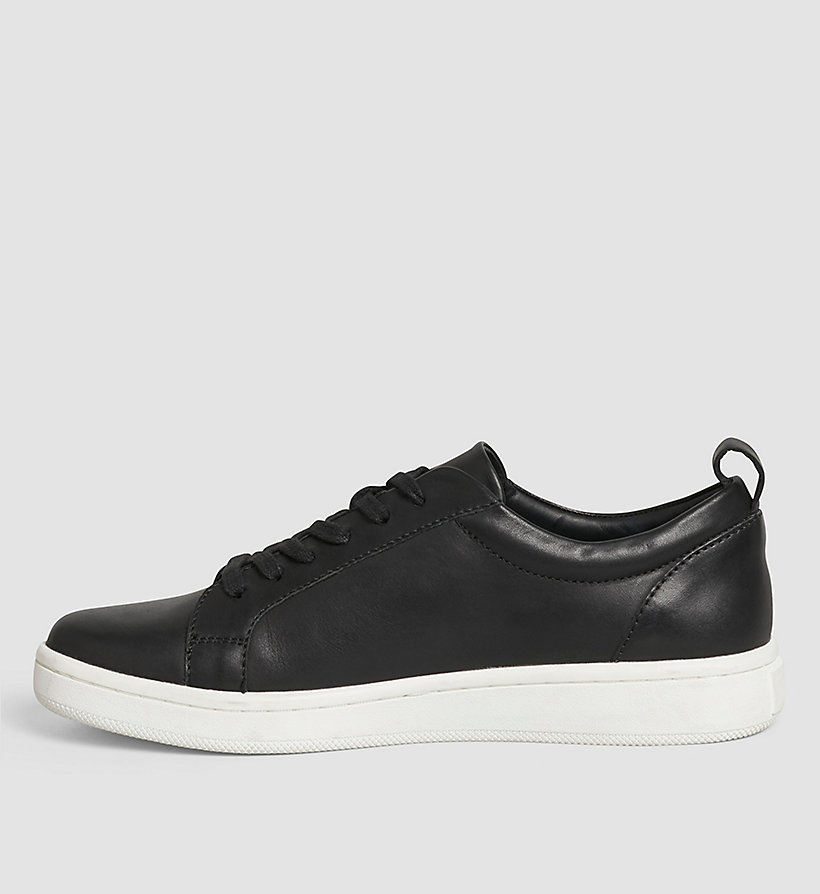 CALVINKLEIN Leather Sneakers - WHITE/BLACK/WHITE - CALVIN KLEIN SHOES & ACCESSORIES - detail image 2