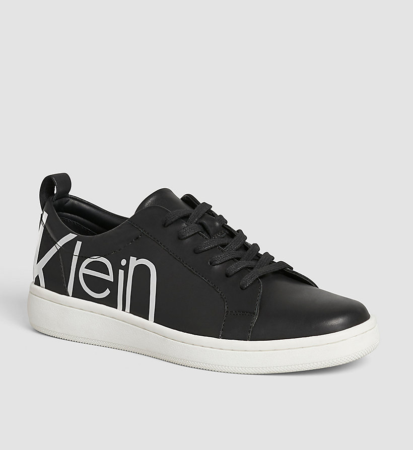 CALVINKLEIN Leather Sneakers - WHITE/BLACK/WHITE - CALVIN KLEIN SHOES & ACCESSORIES - main image