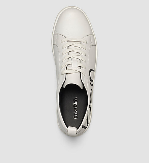 CALVINKLEIN Leather Sneakers - WHITE/WHITE/BLACK - CALVIN KLEIN  - detail image 1