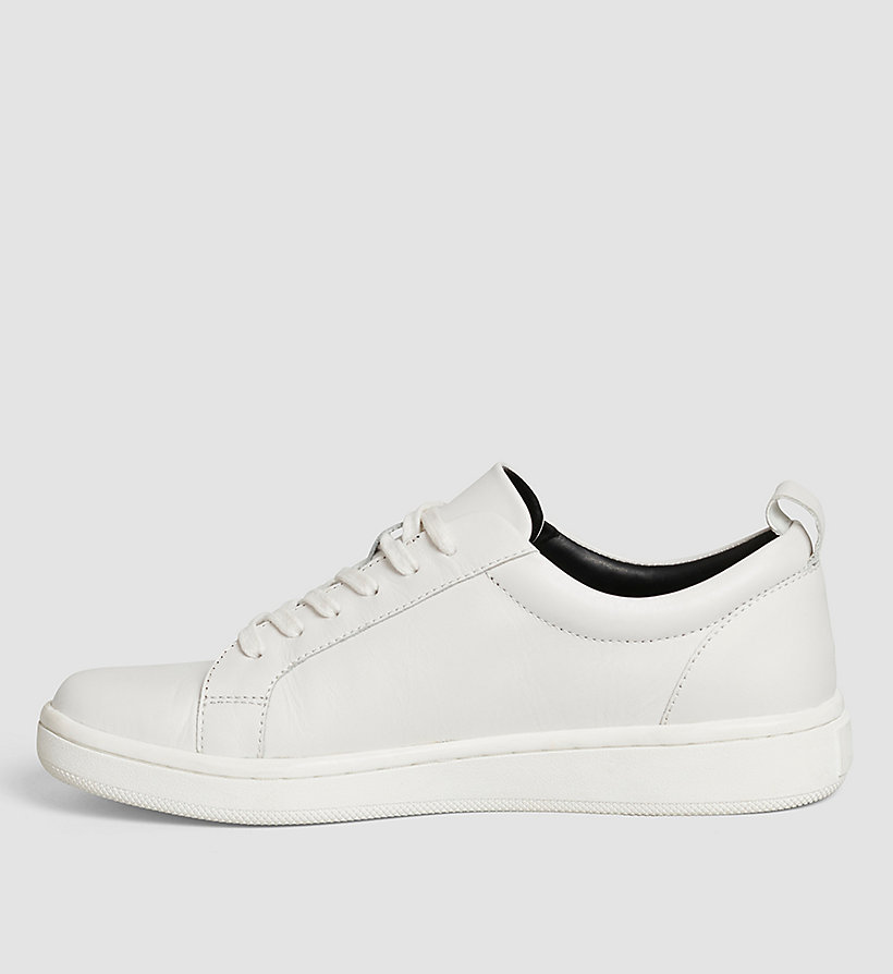 CALVINKLEIN Leather Sneakers - WHITE/WHITE/BLACK - CALVIN KLEIN SHOES & ACCESSORIES - detail image 2