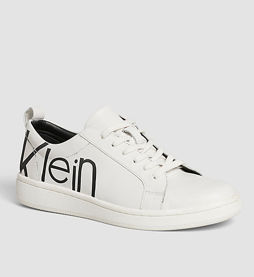 Leather Sneakers - WHITE/WHITE/BLACK - CALVIN KLEIN  - main image