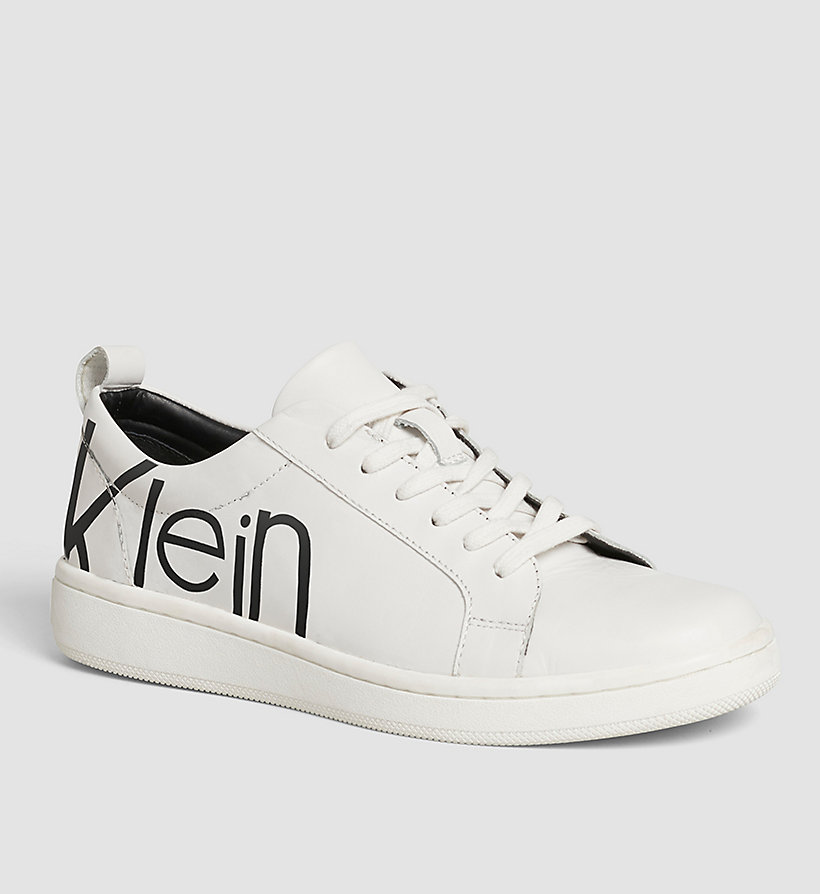 CALVINKLEIN Leather Sneakers - WHITE/WHITE/BLACK - CALVIN KLEIN SHOES & ACCESSORIES - main image