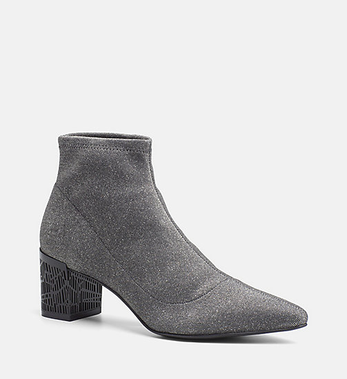 CALVINKLEIN Stretch Lurex Ankle Boots - DARK SILVER - CALVIN KLEIN FLAT SHOES - main image