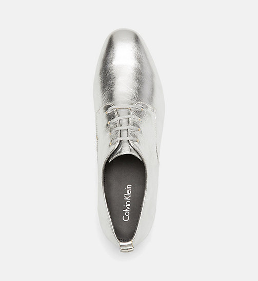 CALVINKLEIN Metallic Leather Lace-Up Shoes - SILVER - CALVIN KLEIN FLAT SHOES - detail image 1