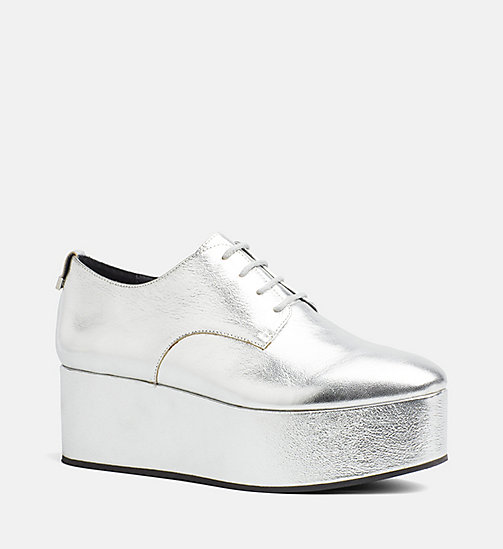 CALVINKLEIN Metallic Leather Lace-Up Shoes - SILVER - CALVIN KLEIN FLAT SHOES - main image
