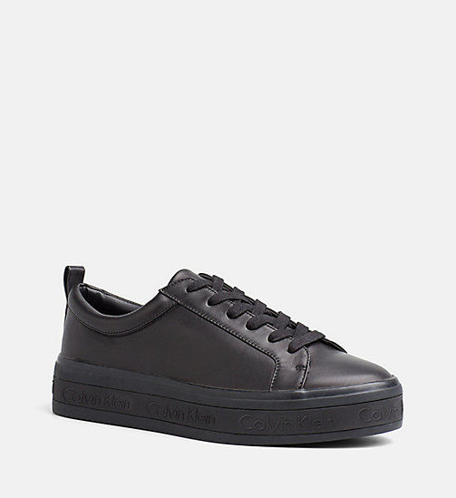 CALVINKLEIN Leather Sneakers - BLACK - CALVIN KLEIN TRAINERS - main image