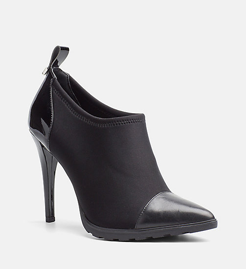 CALVINKLEIN Leather Neoprene Ankle Boots - BLACK - CALVIN KLEIN FLAT SHOES - main image