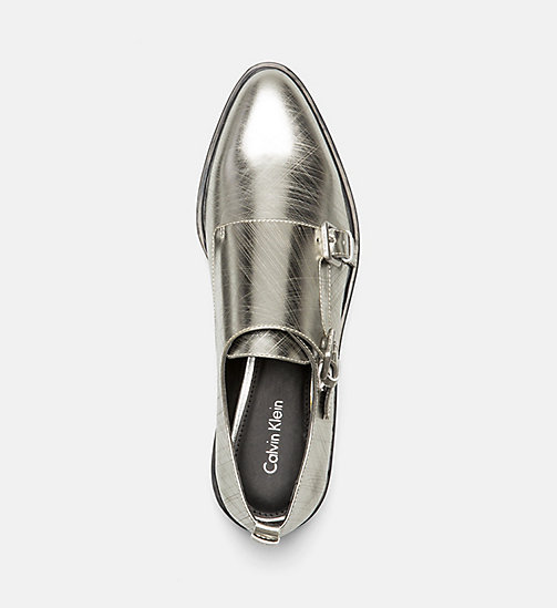 CALVINKLEIN Metallic Leather Loafers - DARK SILVER - CALVIN KLEIN FLAT SHOES - detail image 1