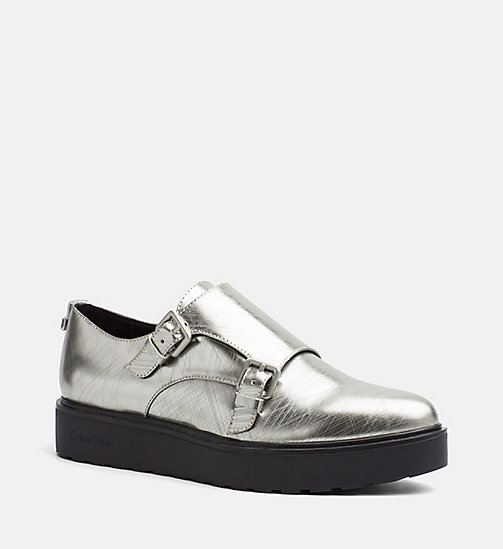 CALVINKLEIN Metallic Leather Loafers - DARK SILVER - CALVIN KLEIN FLAT SHOES - main image