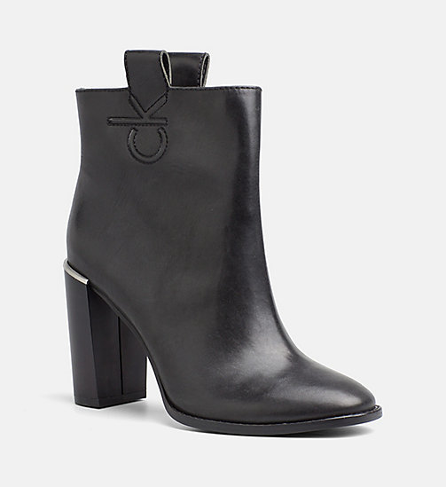 CALVINKLEIN Leather Zip Ankle Boots - BLACK - CALVIN KLEIN ANKLE BOOTS - main image
