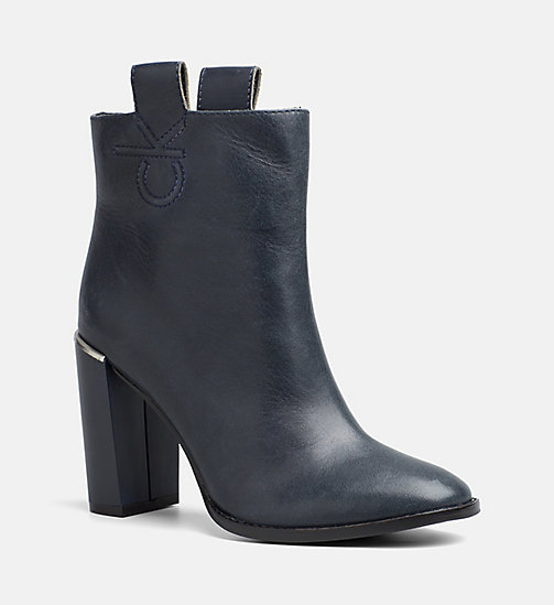 CALVINKLEIN Leather Zip Ankle Boots - DEEP NAVY - CALVIN KLEIN ANKLE BOOTS - main image