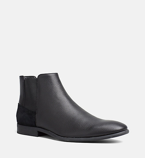 CALVINKLEIN Leather Ankle Boots - BLACK - CALVIN KLEIN MODERN CLASSIC - main image