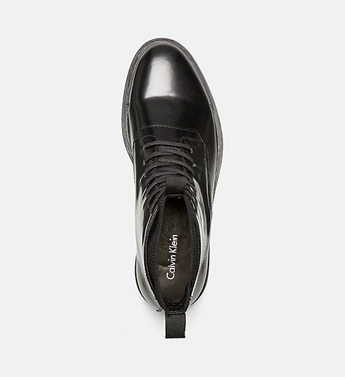 CALVINKLEIN Leather Lace-Up Ankle Boots - BLACK - CALVIN KLEIN FLAT SHOES - detail image 1