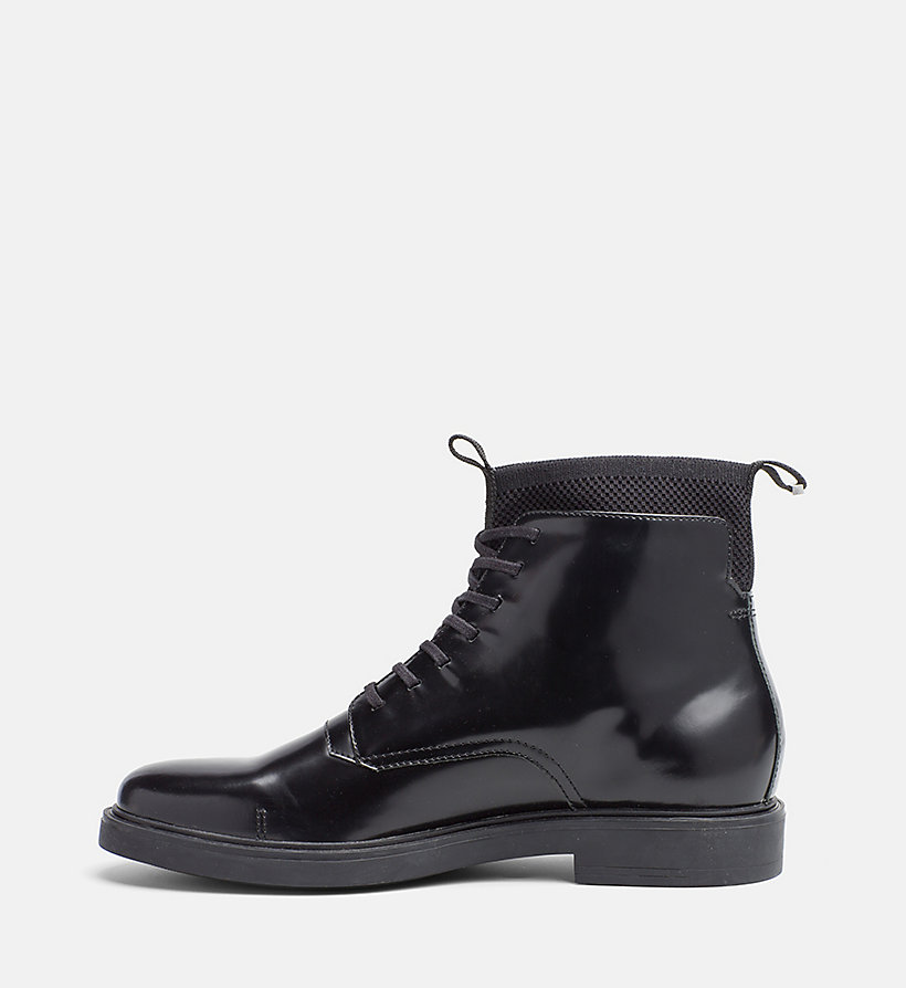 leather lace up ankle boots calvin klein 174 00000f0467blk