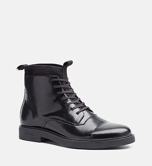 CALVINKLEIN Leather Lace-Up Ankle Boots - BLACK - CALVIN KLEIN FLAT SHOES - main image