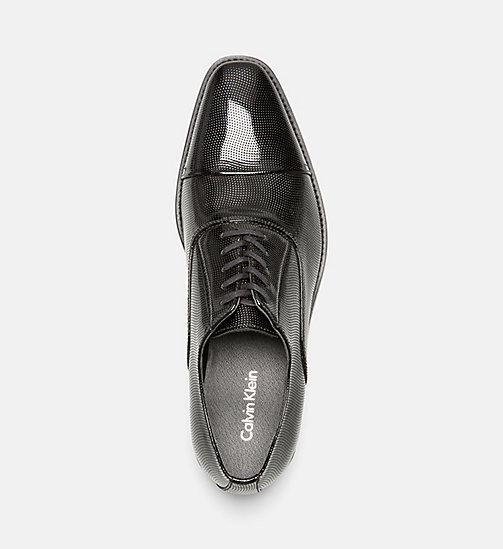 CALVINKLEIN Embossed Leather Lace-Up Shoes - BLACK - CALVIN KLEIN FLAT SHOES - detail image 1