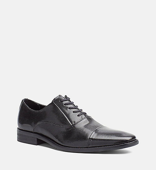 CALVINKLEIN Embossed Leather Lace-Up Shoes - BLACK - CALVIN KLEIN FLAT SHOES - main image